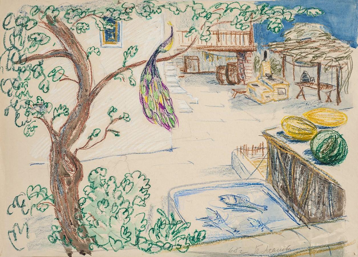 Эскизы декораций Беллы Маневич к фильму «Белое солнце пустыни»