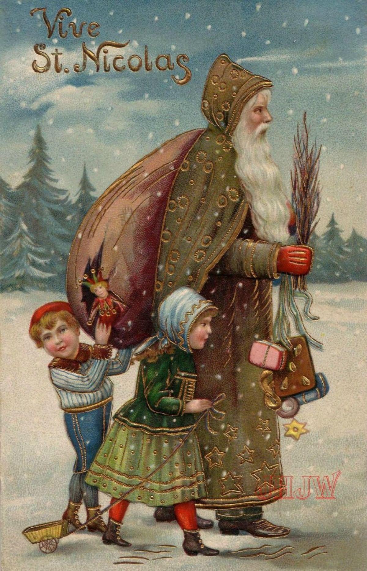 Старая немецкая открытка со святым Николаем