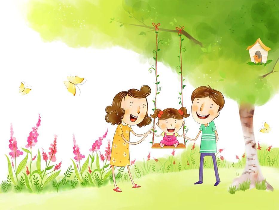 Картинки дружная семья нарисованные, днем