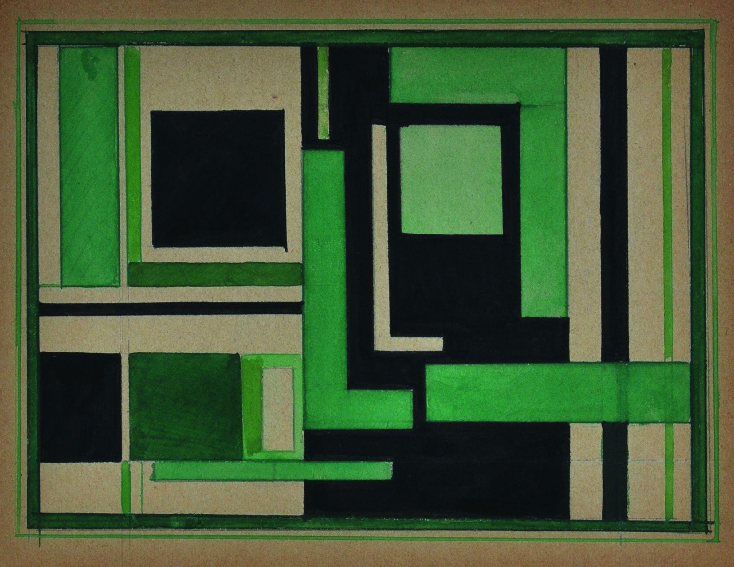 Н.Суетин. Супрематическая композиция с черным и зеленым. 1925. Sepherot Foundation