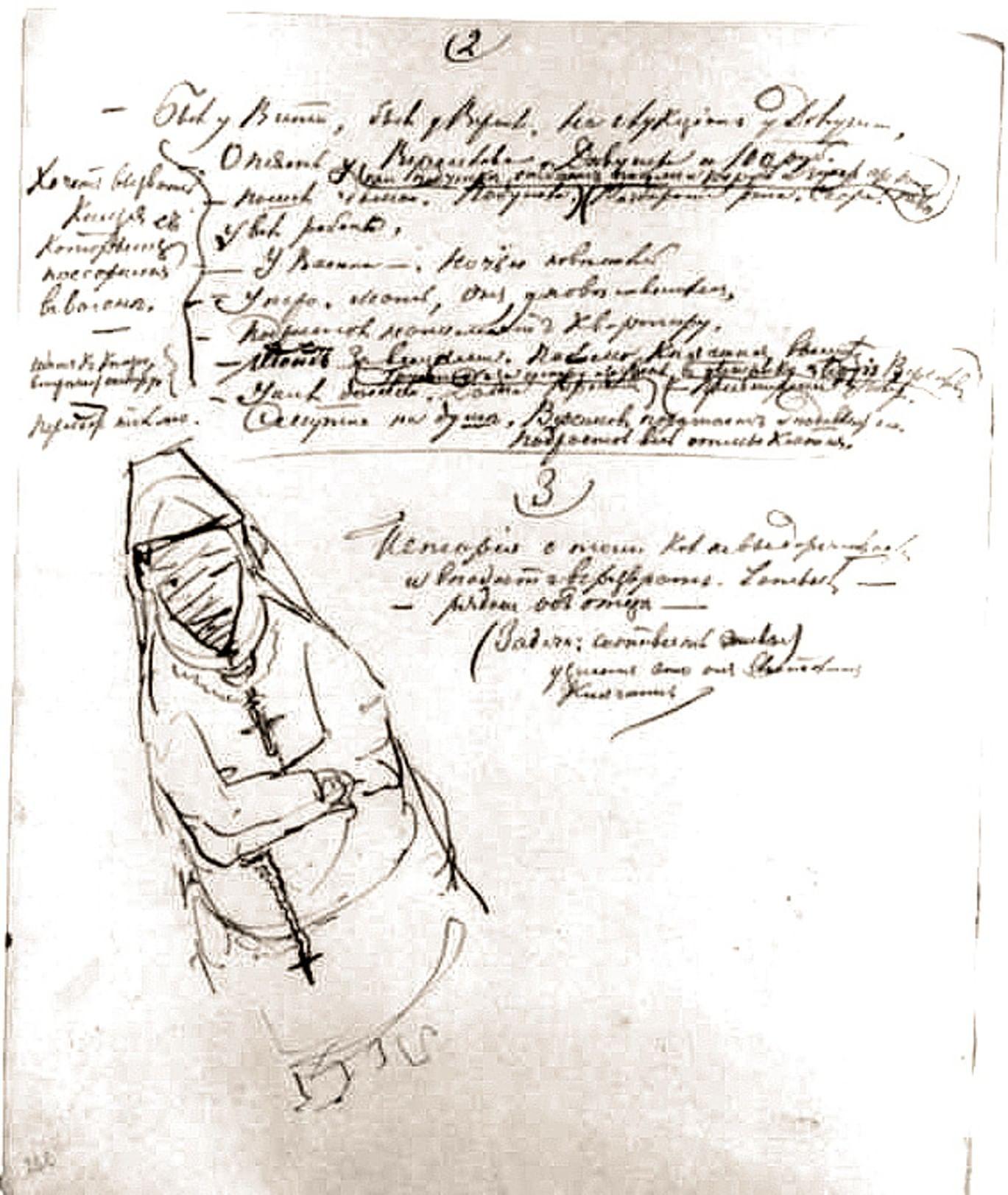 Рисунки Достоевского к его рукописям 1