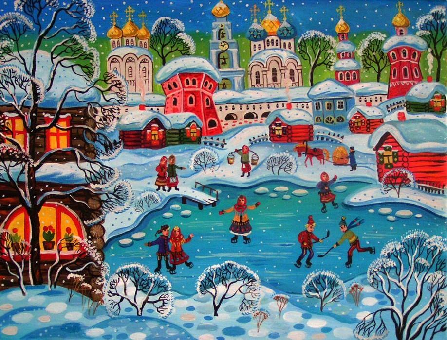 Картинки зима в городе для детей, новым годом детский