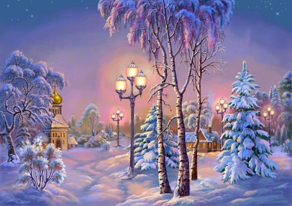 Поздравление днем, зимняя новогодняя открытка рисунок