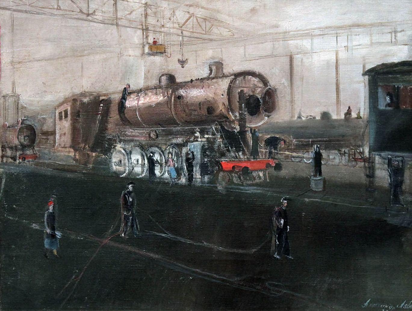 Первые дирижабль, паровоз и эскалатор на картинах Александра Лабаса. Галерея 2. Паровоз