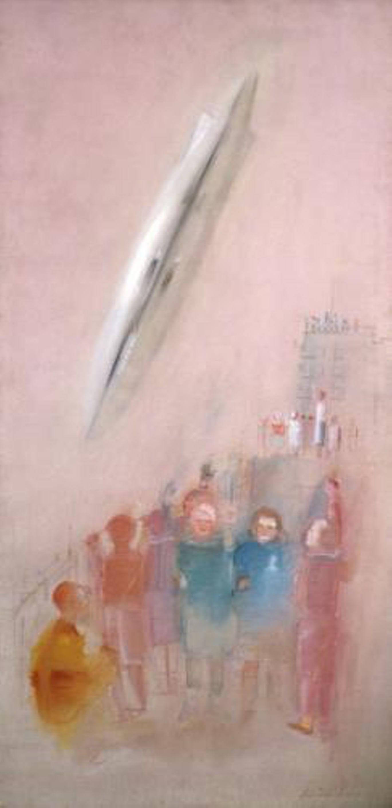 Первые дирижабль, паровоз и эскалатор на картинах Александра Лабаса. Галерея 1. Дирижабль