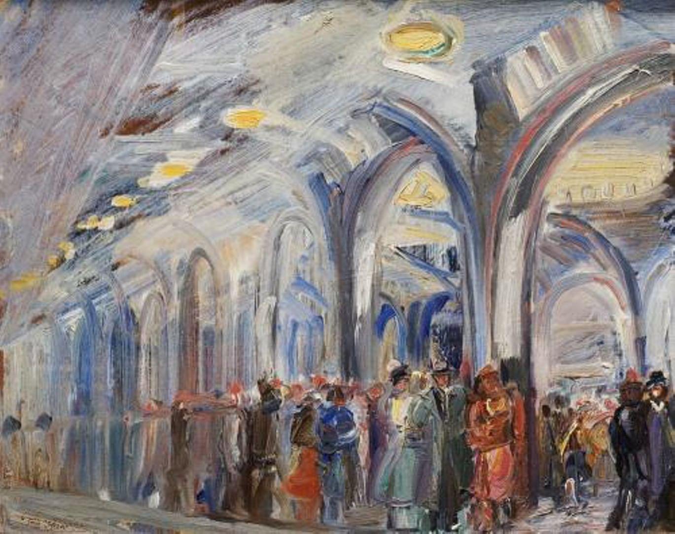 Первые дирижабль, паровоз и эскалатор на картинах Александра Лабаса. Галерея 3. Метро