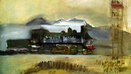 Первые дирижабль, паровоз иэскалатор накартинах Александра Лабаса