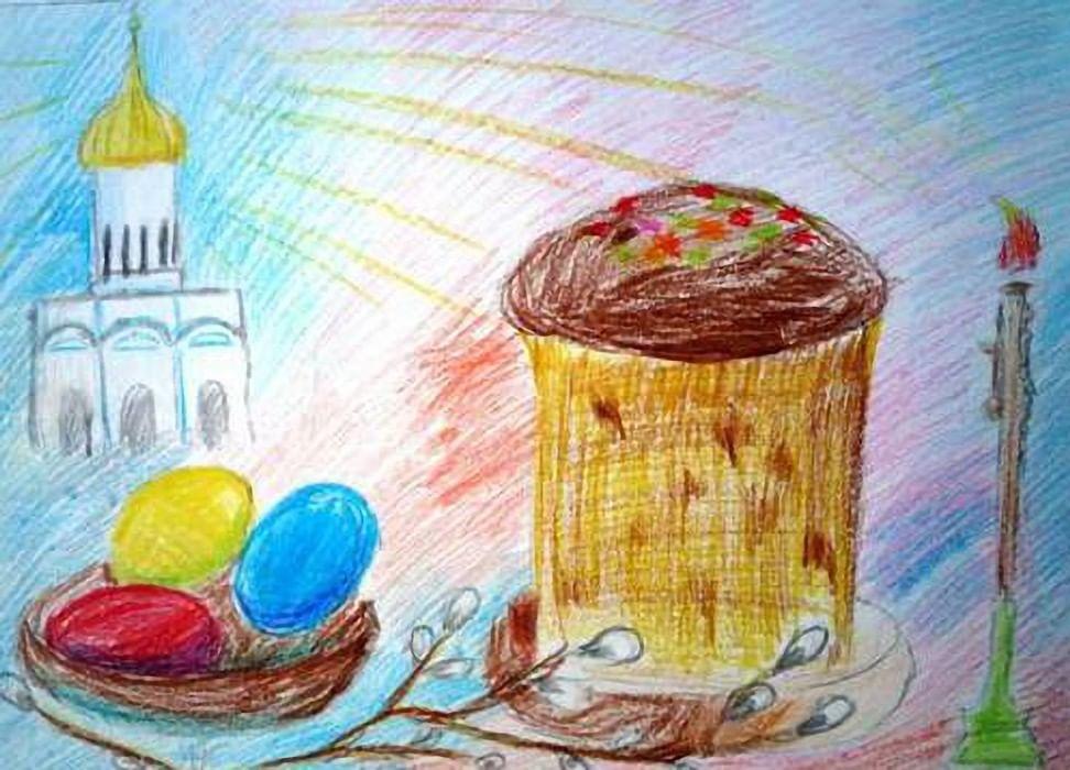 Нарисовать рисунок на пасху в школу легко