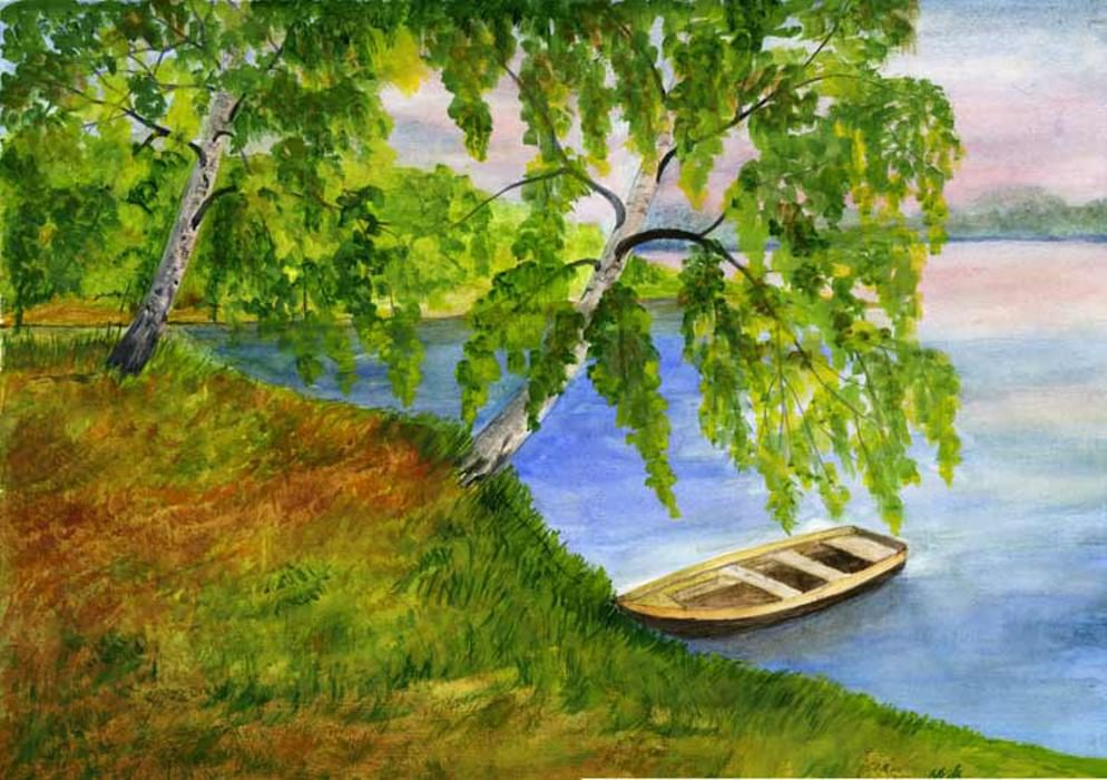 природа россии рисунок гуашью моего отца оказала
