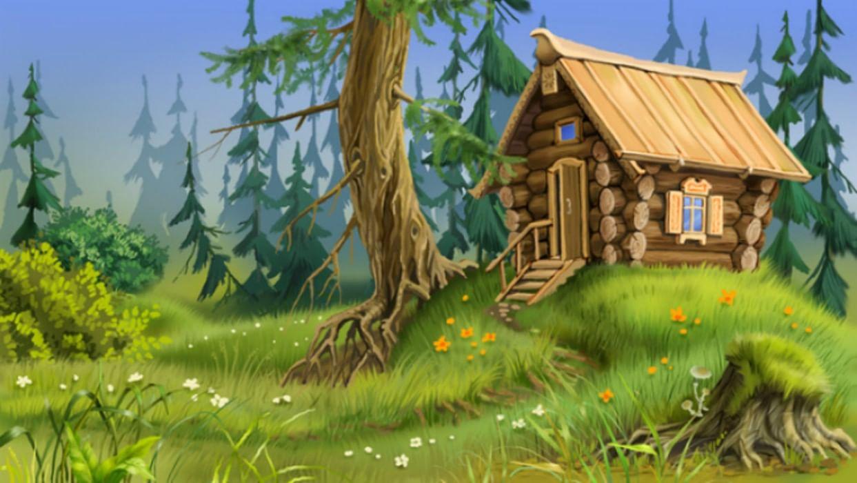 Картинка дом на опушке леса