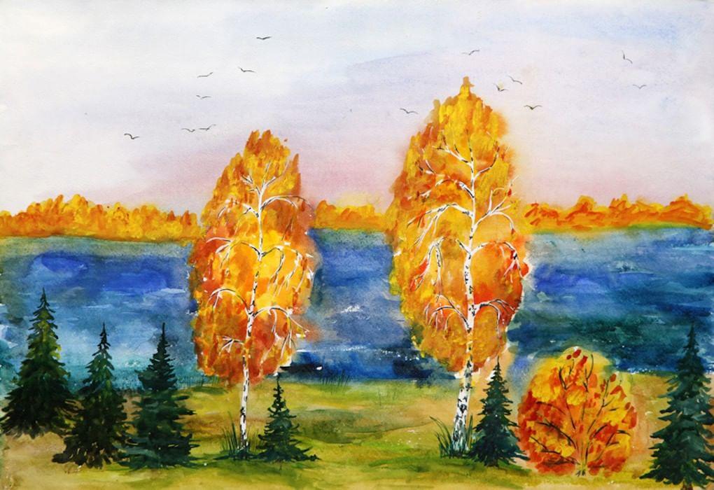 Золотая осень картинка срисовать, цветной бумаги день