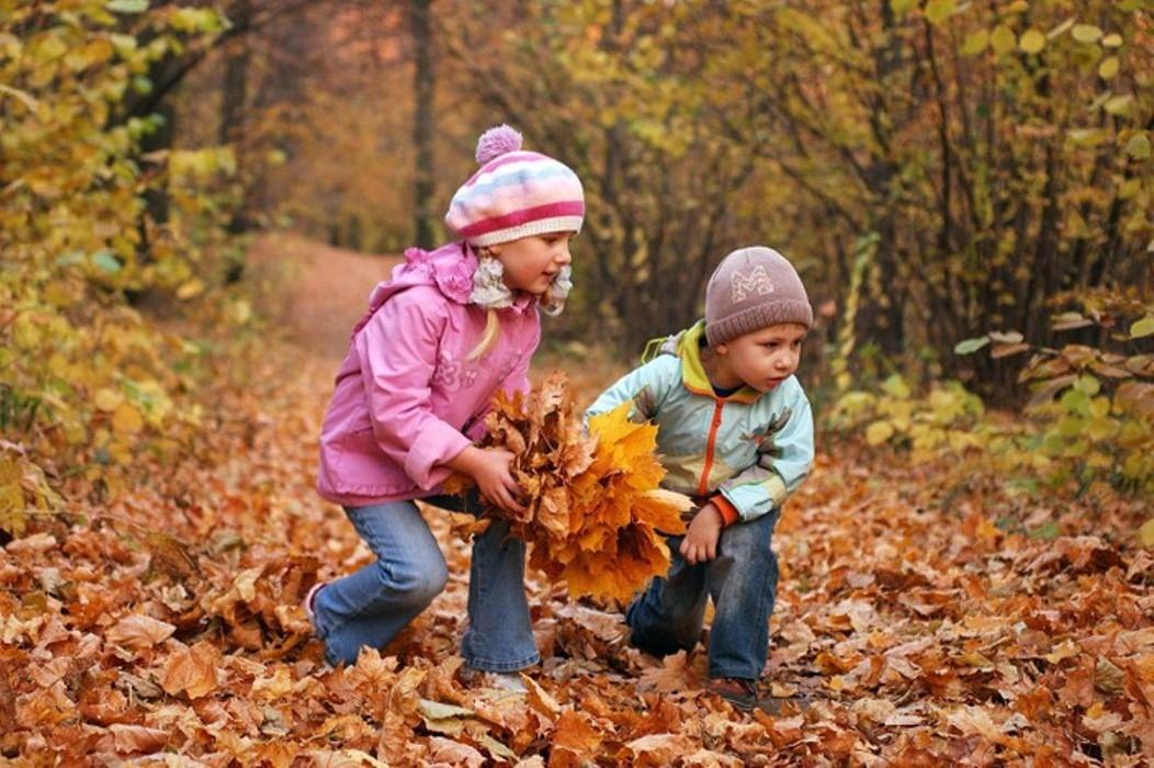 Картинки осень дети собирают листья, дню босса