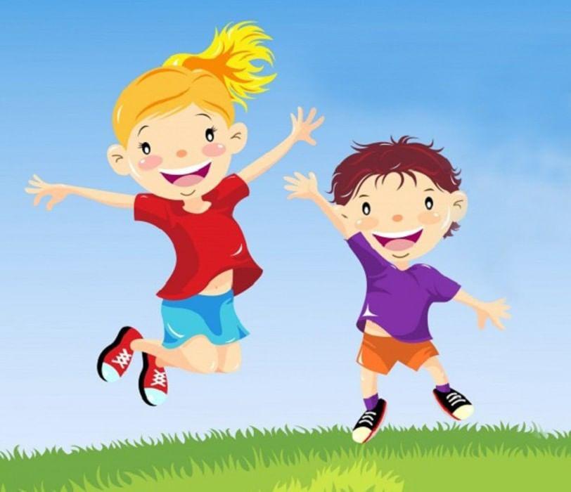 Днем, картинка дети играют в подвижные игры