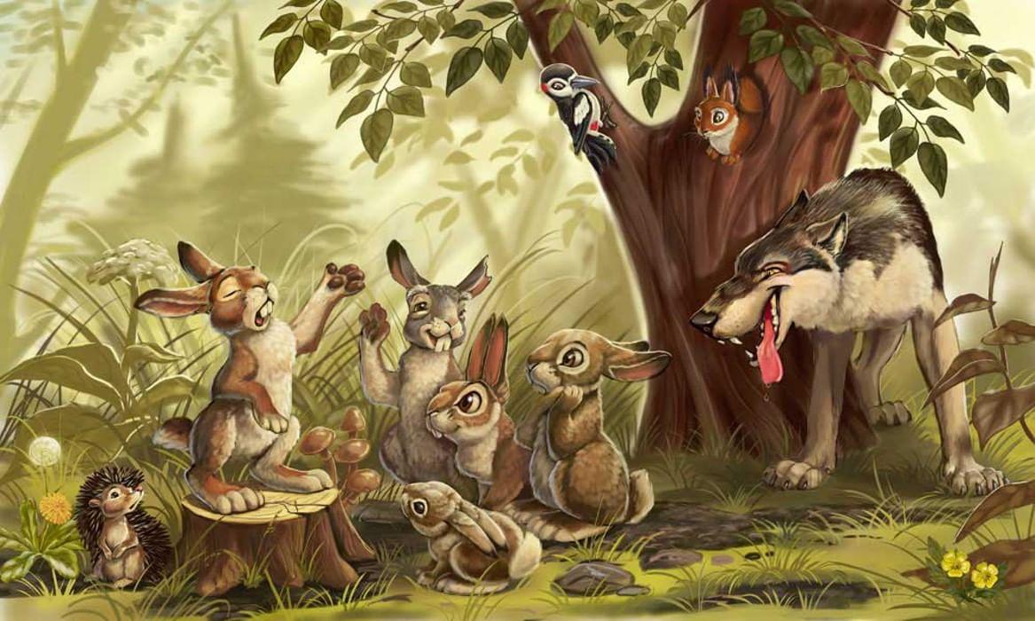 Картинки к сказке волк и зайцы