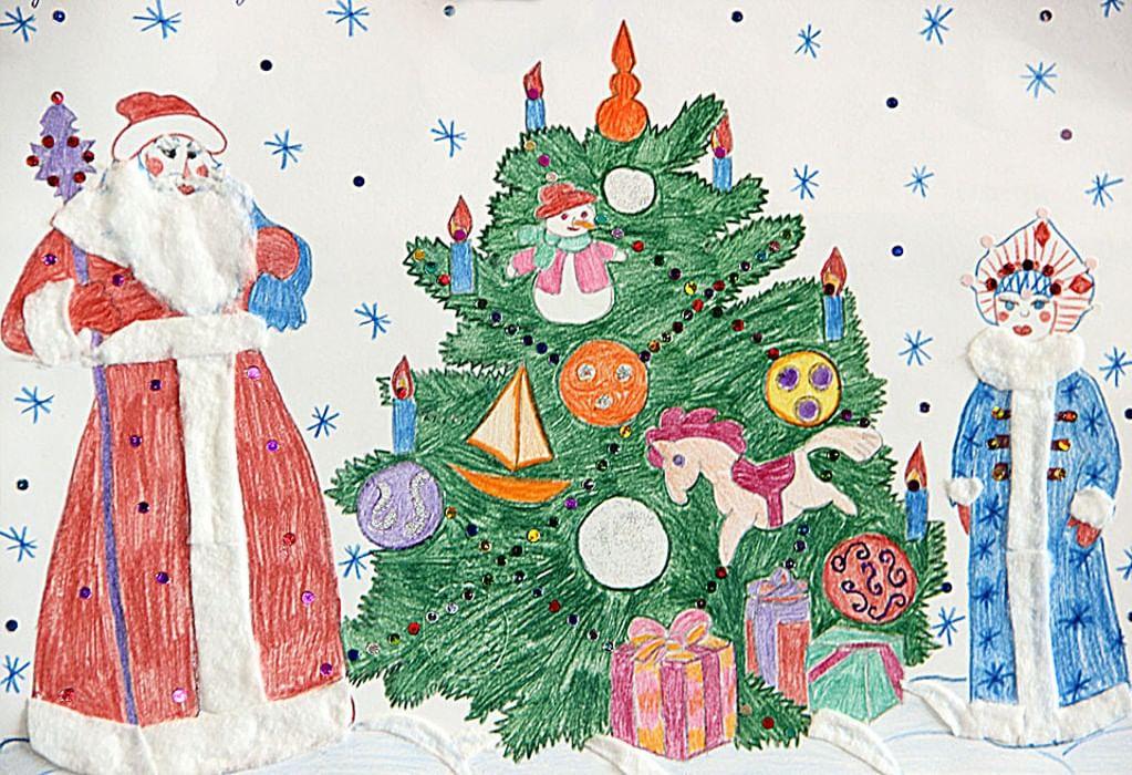 Как можно нарисовать новогоднюю открытку в школу