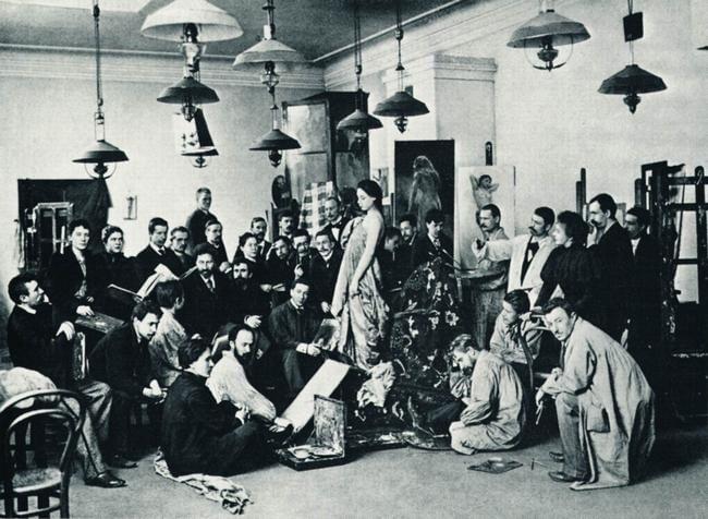 Илья Репин среди своих учеников. 1898