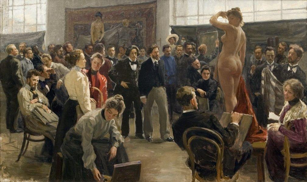 Борис Кустодиев. Постановка модели в мастерской Репина. 1899