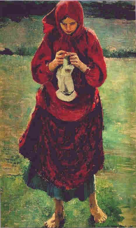 Филипп Малявин. Крестьянская девушка с чулком. 1895
